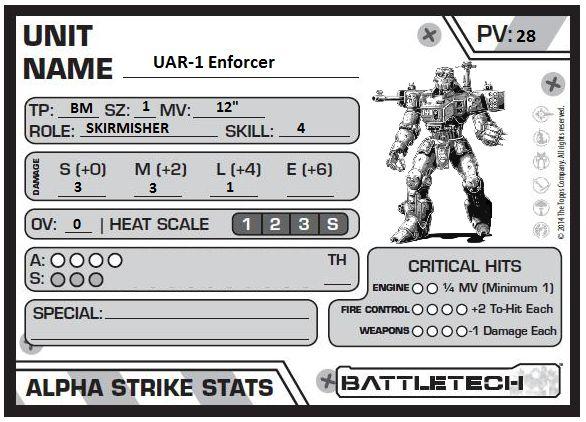 Uar-1 enforcer alpha strike