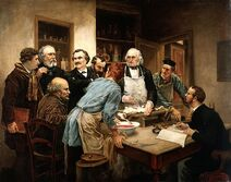 Claude Bernard and his pupils. Oil painting after Léon-Augus Wellcome V0017769