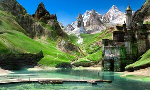 1600x958 8079 Landscape 3d fantasy landscape castle mountains picture image digital art