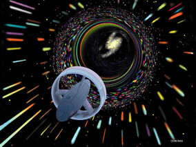 Spaceship-traveling-through-wormhole