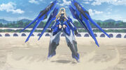 A woman in a blue suit of power armor hovering a short distance off the ground. Four remote-operated drones hover around her.