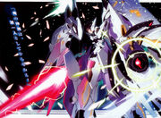 A man in a bright white suit of power armor, brandishing a lit beamsaber and a lightning claw.