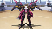 A woman standing at attention in a black and purple suit of power armor. Her shoulders are particularly prominent.