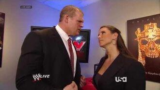 Stephanie McMahon, Brad Maddox & Kane Backstage