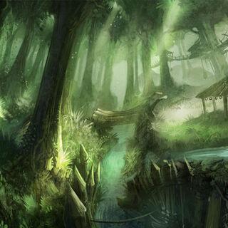 Koncepcja lasu wśród wzgórz