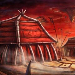 Concept art — Outland orc dwellings in Nagrand.