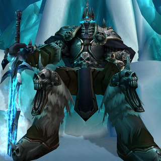 Arthas the Lich King, seated on the Frozen Throne.