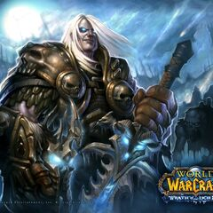 The Lich King Arthas, holding Frostmourne and the Helm of Domination.