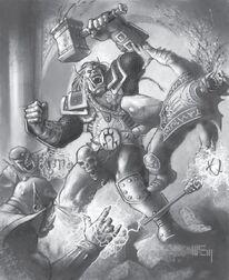 Ogrim luchando con Doomhemmer