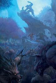Affrontement entre worgens satyres et elfes de la nuit durant la Guerre des Satyres