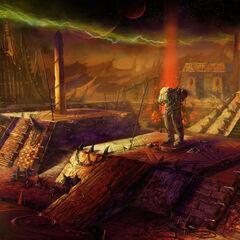 Ранний концепт-арт при разработке <i>World of Warcraft: The Burning Crusade</i>. Область, которая не была описана нигде ранее.