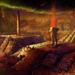 Wczesna grafika koncepcyjna przedstawiająca wznoszenie draenorskiej strony Mrocznego Portalu