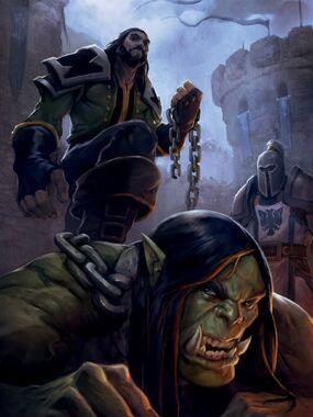 Thrall battu par son maître Aedelas Landenoire