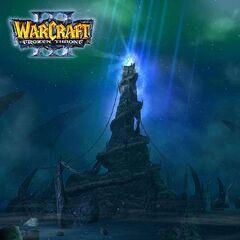 Pierwotna wersja ekranu logowania do <i>Warcraft III: The Frozen Throne</i> przedstawia Zamarznięty Tron jako znacznie mroczniejsze miejsce