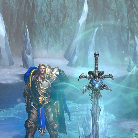 Артас принимает Ледяную Скорбь (<i>Warcraft III: Reforged</i>).