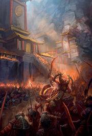 Mogu défendant leurs terres face aux mantides