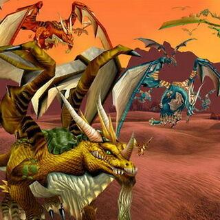 Стаи драконов в бою.