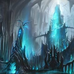 Concept art for the interior of the citadel and the spire leading up to the throne.
