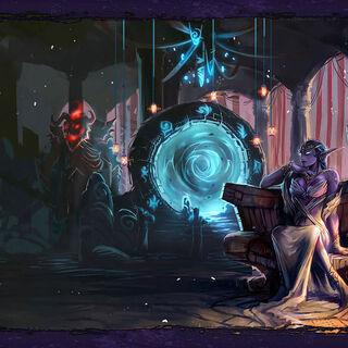 Азшара смотрит на портал и ждет появление Саргераса.