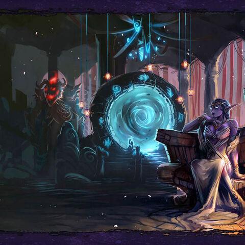 Azshara patrzy na portal i oczekuje przyjścia Sargerosa. (fanart)