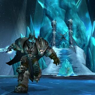 The Lich King in combat before the Frozen Throne.