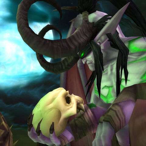 Illidan holding the Skull of Gul'dan (in-game).
