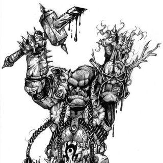 Оргримм держит в руках отрубленную голову Чернорука.