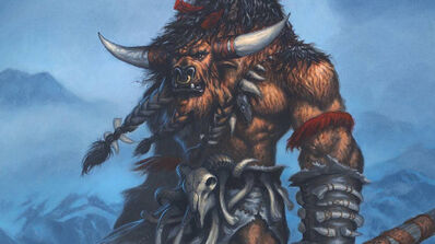 R169 457x256 18780 Huln Highmountain WOW hero card 2d fantasy creature warrior barbarian world of warcraft picture image digital art