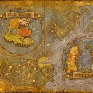 Najwyższy poziom mapy przedstawiający Outland i Azeroth z zaznaczonym Maelstromem.
