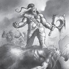 Гром триумфально стоит на трупе Кенария.