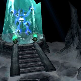 Ner'zhul, the Lich King, imprisoned within the Frozen Throne.