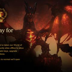 Сообщение, которое получают все желающие зайти на Battle.net в момент установки обновления Катаклизм.