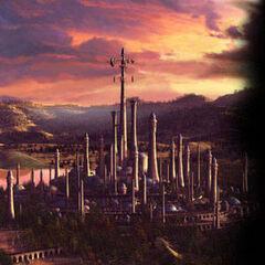 Dalaran przed zniszczeniem. Najwyższa wieża miasta to iglica Fioletowej Cytadeli