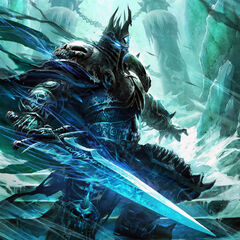 The Lich King, standing before the Frozen Throne (by Raymond Swanland).