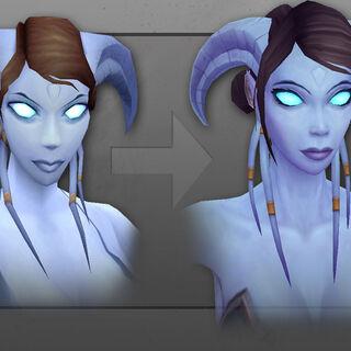 Старая и обновленная в WoD модель дренея-женщины, лицо