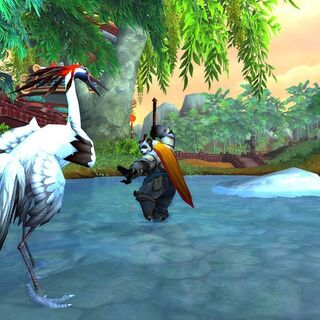A Pandaren warrior in combat against what appears to be a crane.