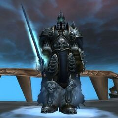 The Lich King with his old model before patch 8770 (note the way he is standing in this picture).