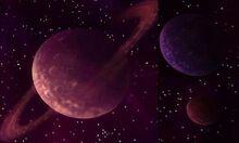 Planètes dans la ténèbre de l'au-delà
