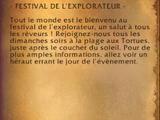 Annonce du festival de l'explorateur (objet)