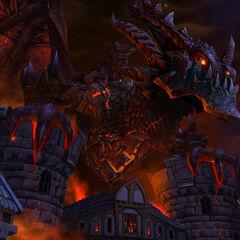 Deathwing widziany na ekranie logowania w <i>World of Warcraft: Cataclysm</i>.