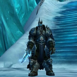 The Lich King at the top of Icecrown Citadel.