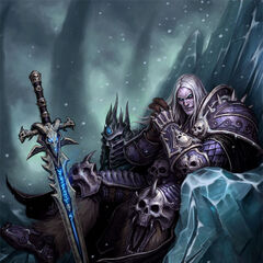 Arthas, the Lich King, sitting on the Frozen Throne (by Glenn Rane).