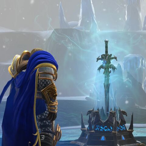 Артас у пьедестала Ледяной Скорби (<i>Warcraft III: Reforged</i>).