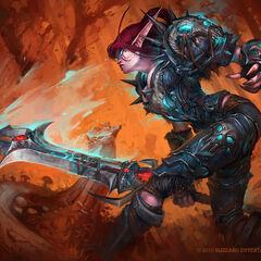 Shanis Bladefall, a night elf death knight.