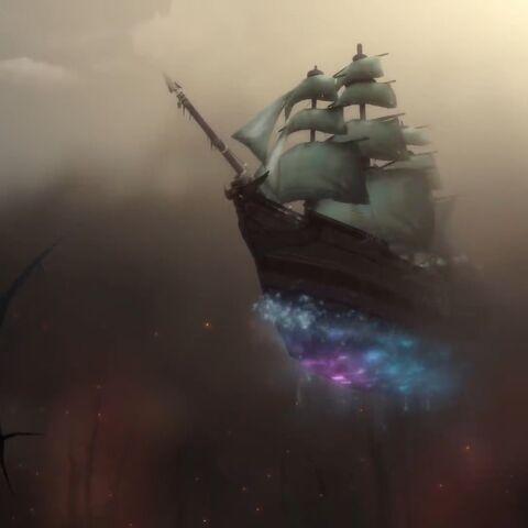 Джайна прибывает на своем корабле во время битвы за Лордерон.