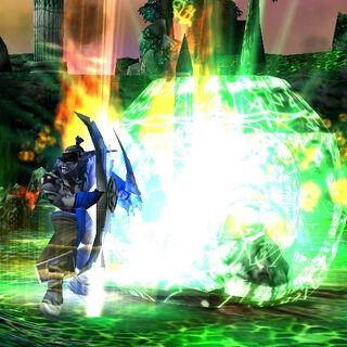 Иллидан впитывает силу черепа Гул'дана.