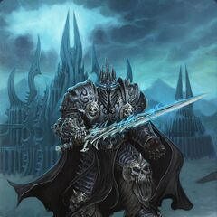 The Lich King standing outside Icecrown Citadel (by Glenn Rane).