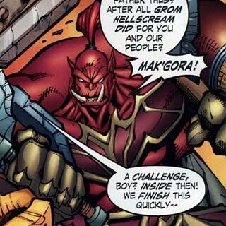 Hellscream wyzywa Thralla na pojedynek Mak'gora