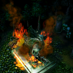 A burning statue of Cenarius, seen near the beginning of the <a class=