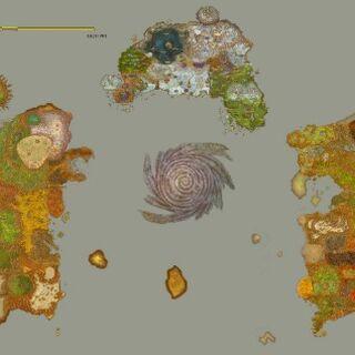 Карта Азерота составленная из многих отдельных карт локаций